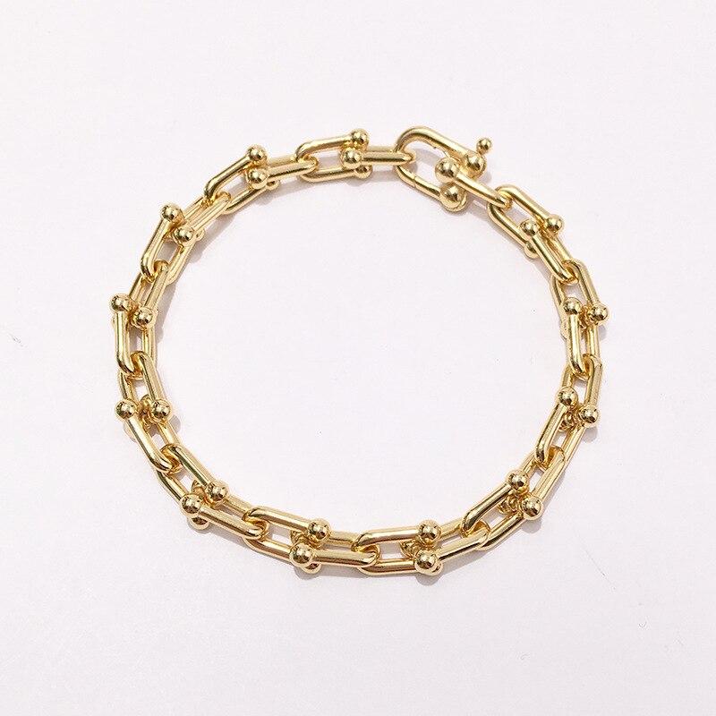 Mode luxe marque bijoux style neutre lisse en forme de u chaîne bambou épais collier amoureux bijoux