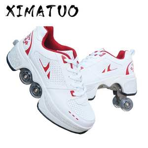 Sneakers Skates Deform Hot-Shoes Four-Wheeled Adult Walk Unisex Women Casual Couple Childred