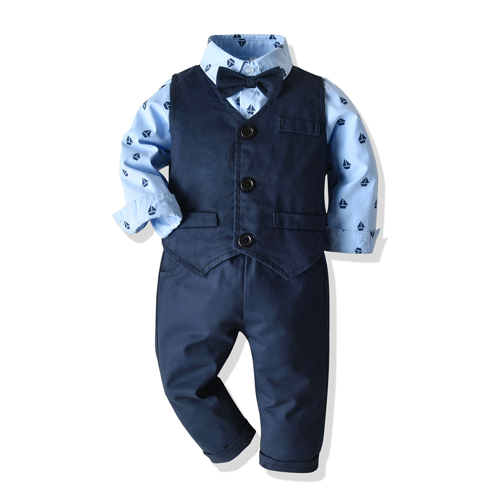 Baby Boy s Vest Suit Set Toddler Boys Outfit Tie Navy Clothes 12 18 24 Months t