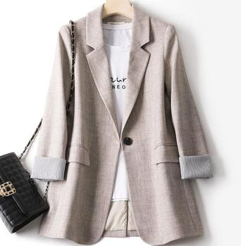 Spring Autumn Women Korean Loose Blazers And Jackets Casual Notched One Button Formal Blazer Fashion Ladies Clothes pinkyisblack casual blazers spring striped slim fit women formal jackets office work single button notched ladies blazer coat