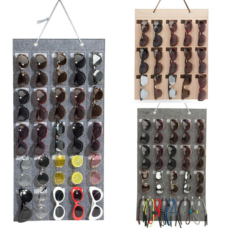 Eyeglass Sunglasses Organizer Hanging Wall Glasses Holder Storage Display Pocket Mount Hanger On Wall