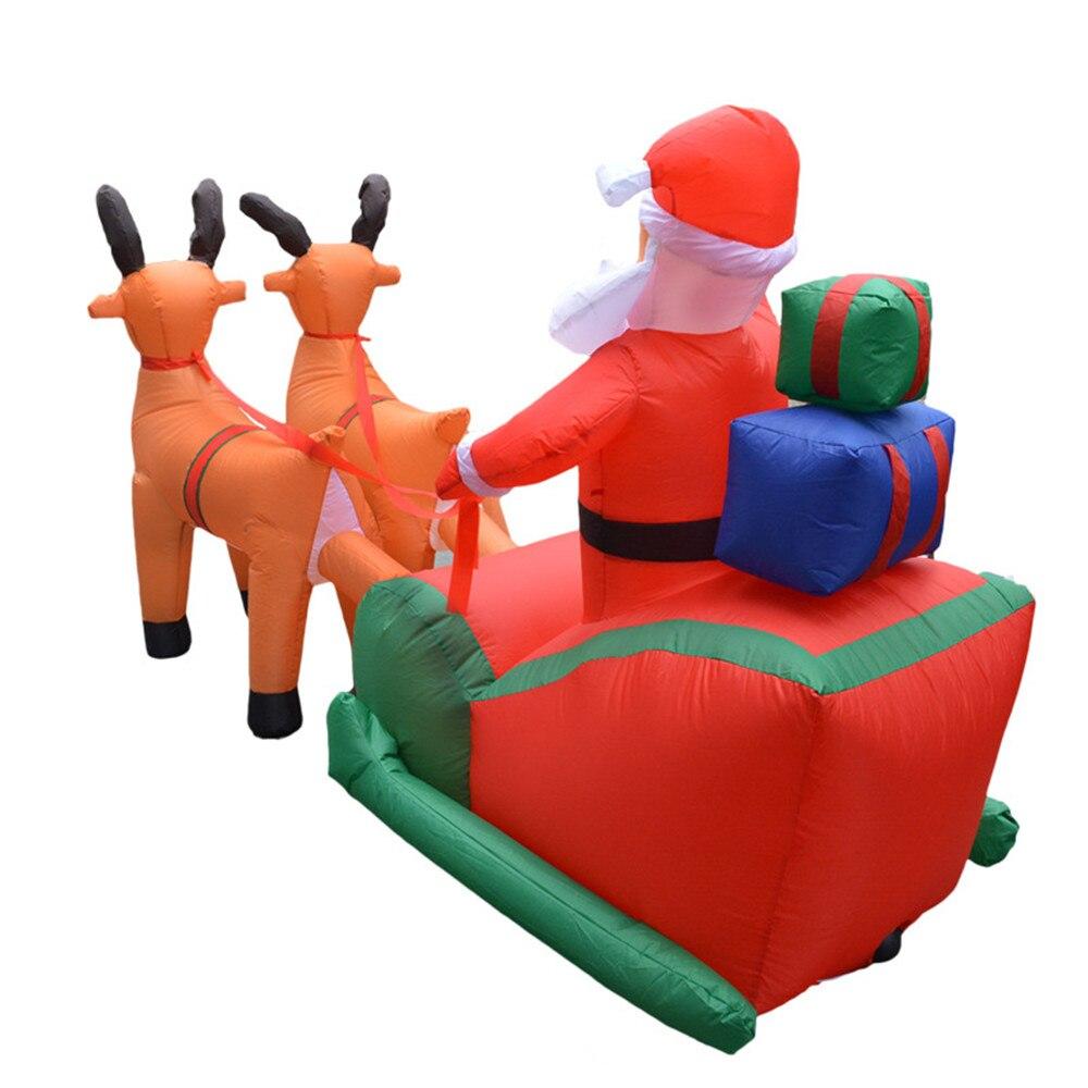 Carrito de ciervos inflable de Navidad carrito de ciervos doble Carro de Santa Claus de Navidad vestido de decoraciones de bienvenida - 4