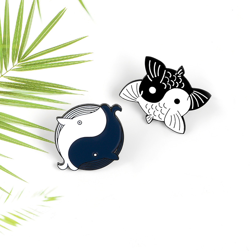Koi <font><b>Whale</b></font> Enamel Pins Yin Yang Chinese Taoist Style Brooch Denim Jeans Backpack White Black Fish Jewelry Gift for Friends image