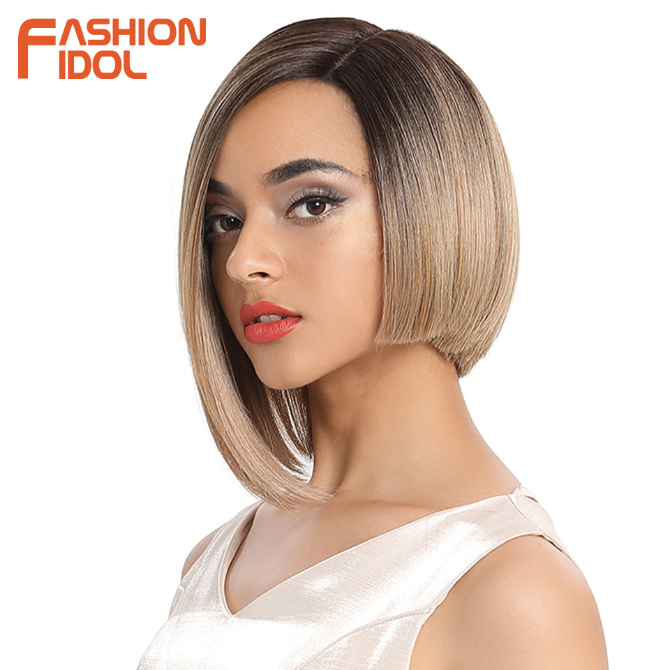 FASHION IDOL Short Straight Hair Synthetic Black Side Part Lace Front Wig Ombre Heat Resistant Cosplay Bob Wigs For Black Women