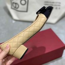 2021 scarpe da donna di alta qualità in pelle di agnello con ricamo romboide patchwork di colore con tacchi bassi 3.5cm