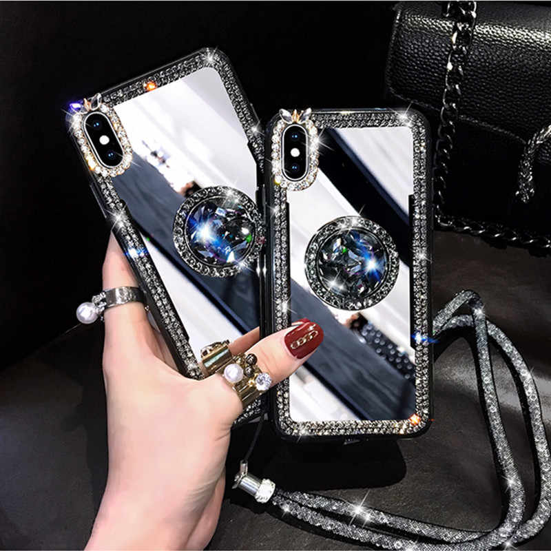 Mirror Rhinestone Makeup Women Case For Samsung A70 A50 A40 A30 A10 A8 Plus A6 Plus A5 A7 A830 Glitter Diamond Finger Ring Cover