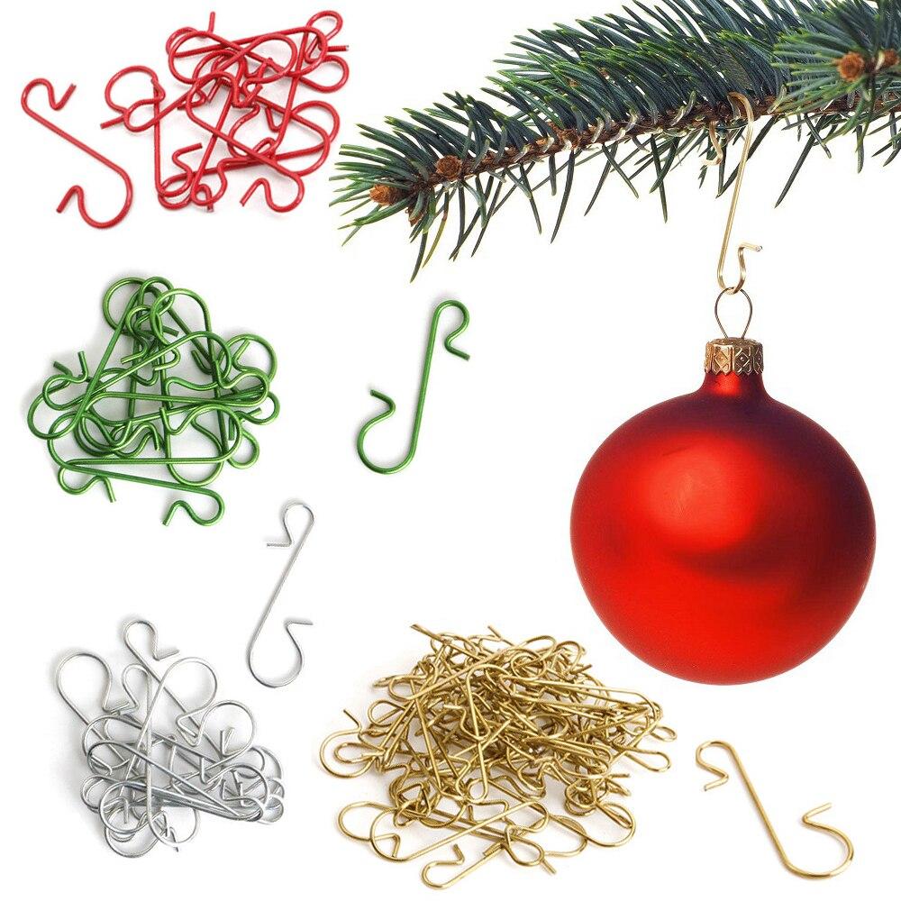 Crochets métalliques en forme de S, ornement de noël, 50 pièces, supports suspendus, boule d'arbre de noël, décoration pour la maison, nouvel an