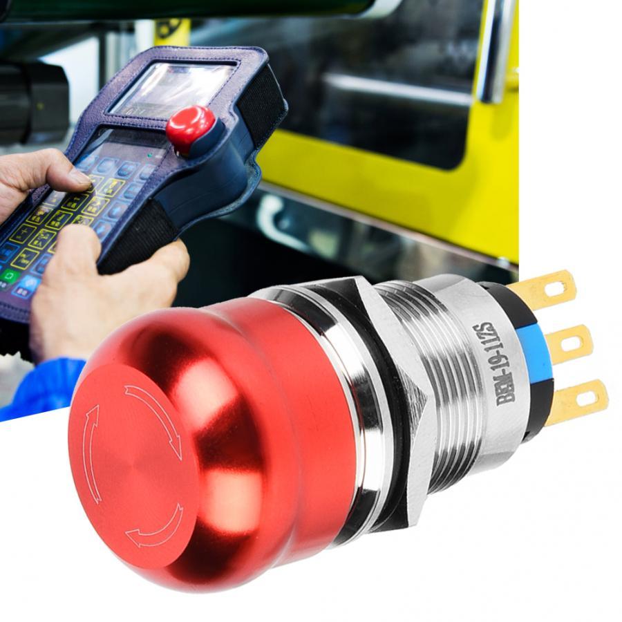 40 pièces 19mm métal d'urgence bouton poussoir interrupteur étanche 1 NO 1 NC auto-verrouillage rotation bouton interrupteur IP65 IK08 440V 10A
