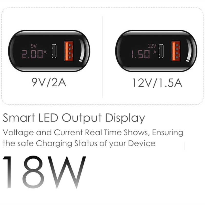 18W PD3.0 QC3.0 LED Display Universal Ponsel Adaptor Daya PD Charger Perjalanan Dinding Charger untuk Iphone Samsung Ipad Xiaomi