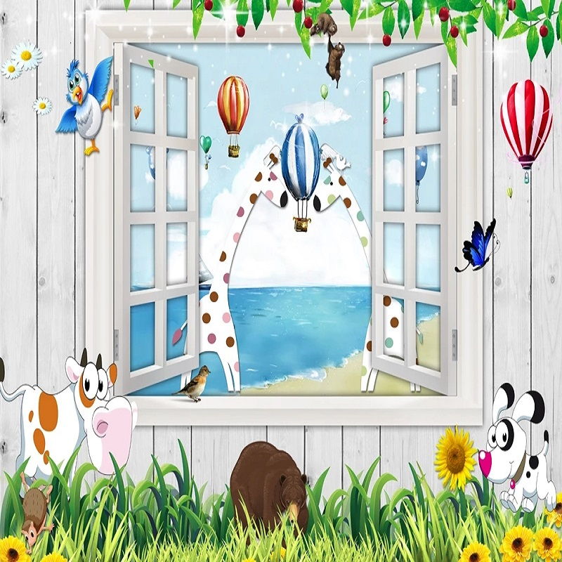 Custom Large Mural 3D Wallpaper Cartoon Animal Cute Giraffe Fake Window Stereo Bedroom Mural TV Back Wall Decor Deep 5D Embossed
