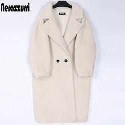 Nerazzurri inverno longo oversized teddy coat feminino lapela marrom grosso quente lã de ovelha ursinho jaqueta feminina plus size moda