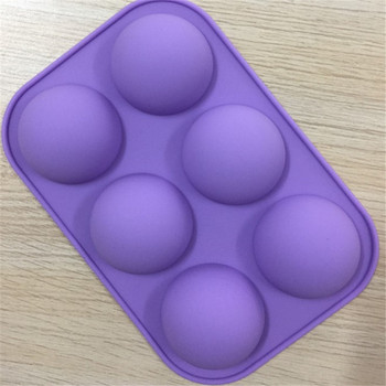 TTLIFE 6 Holes Silicone Baking Mold for 3D Bakeware Chocolate Half Ball Sphere  Cupcake Cake DIY Muffin Kitchen Tool
