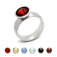 2016 New Fashion Jewelry Round Stainless Steel 5 Colors Crystal Interchangeable Ring For Anniversary/ Party/ Wedding/ Engagement