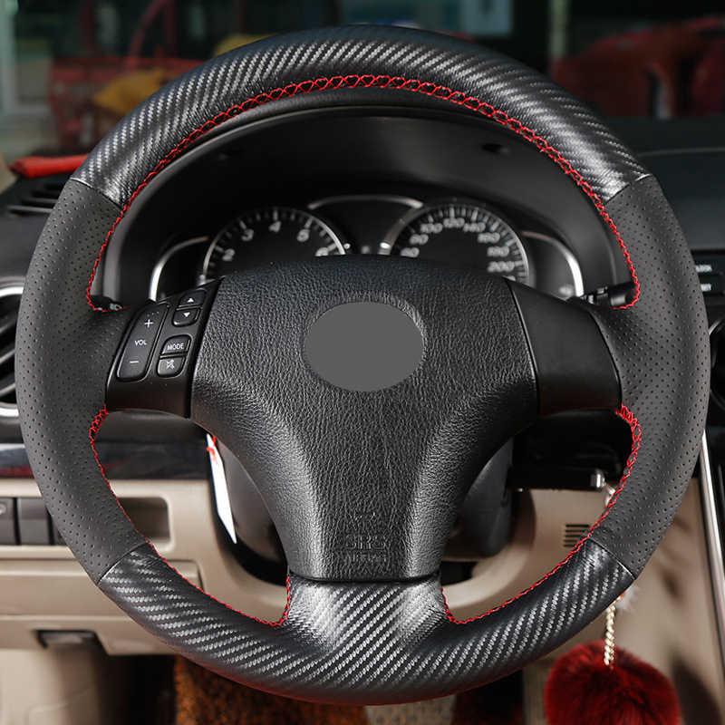 ألياف الكربون الأسود الجلد المدبوغ عجلة توجيه سيارة غطاء ل مازدا 3 مازدا 5 مازدا 6 2003 2004 2005 2006 2007 2008 2009