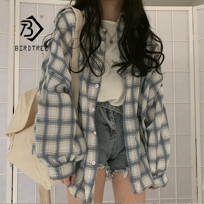 New Arrival Women Vintage Plaid Oversized Blouse Lantern Sleeve Turn Down Collar White Shirt Button Up Casual Tops T04004F