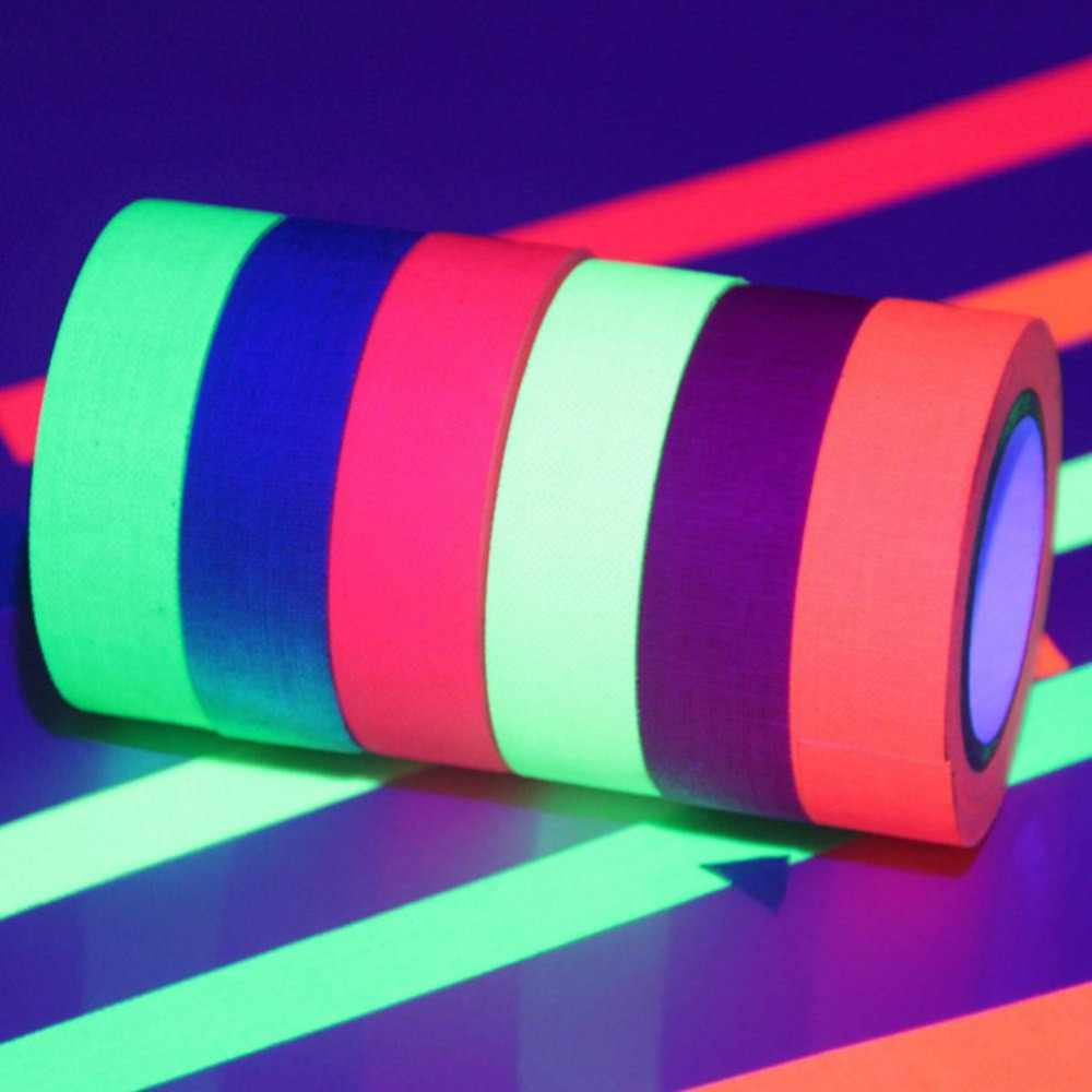Luce Nera Uv Reattiva Fluorescente Nastro di Stoffa Glow in The Dark Neon Nastro Adesivo 0.6in X 16ft Nastro di Carta Decorativa per Il Partito