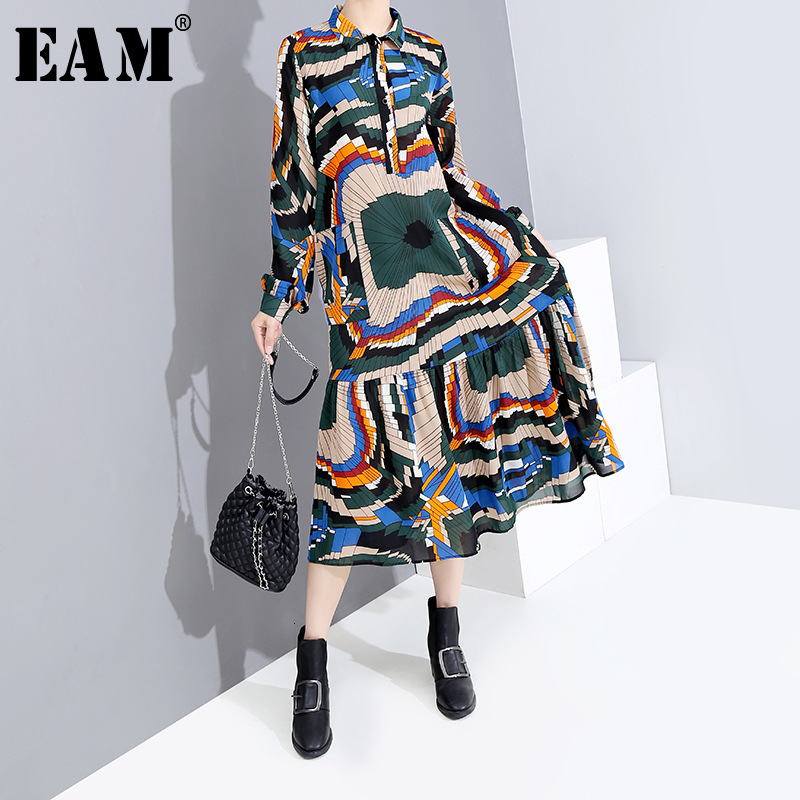 [EAM] Women Pattern Printed Temperament Shirt Dress New Lapel Long Sleeve Loose Fit Fashion Tide Spring Autumn 2019 1H305