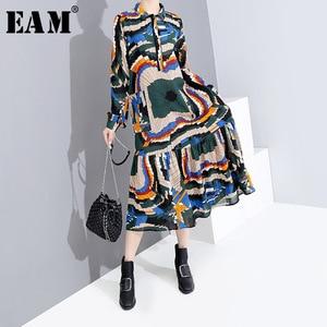 [EAM] Women Pattern Printed Temperament Shirt Dress New Lapel Long Sleeve Loose Fit Fashion Tide Spring Autumn 2020 1H305