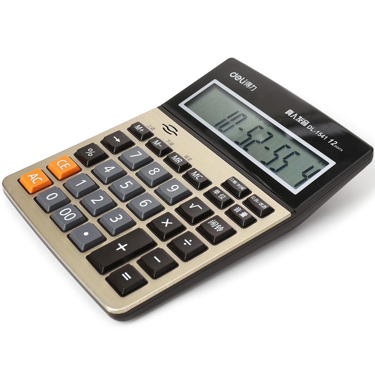 Deli калькулятор арифметика 1541a реальный человек голос металлическая панель большой экран дисплей калькулятор 05020270