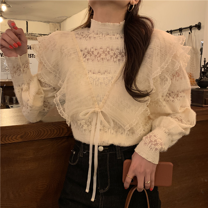 H5406eb3cc51f4777b7cbbe9a5deacc81I - Spring / Autumn Stand Collar Long Sleeves Ruffles Lace-Up Blouse