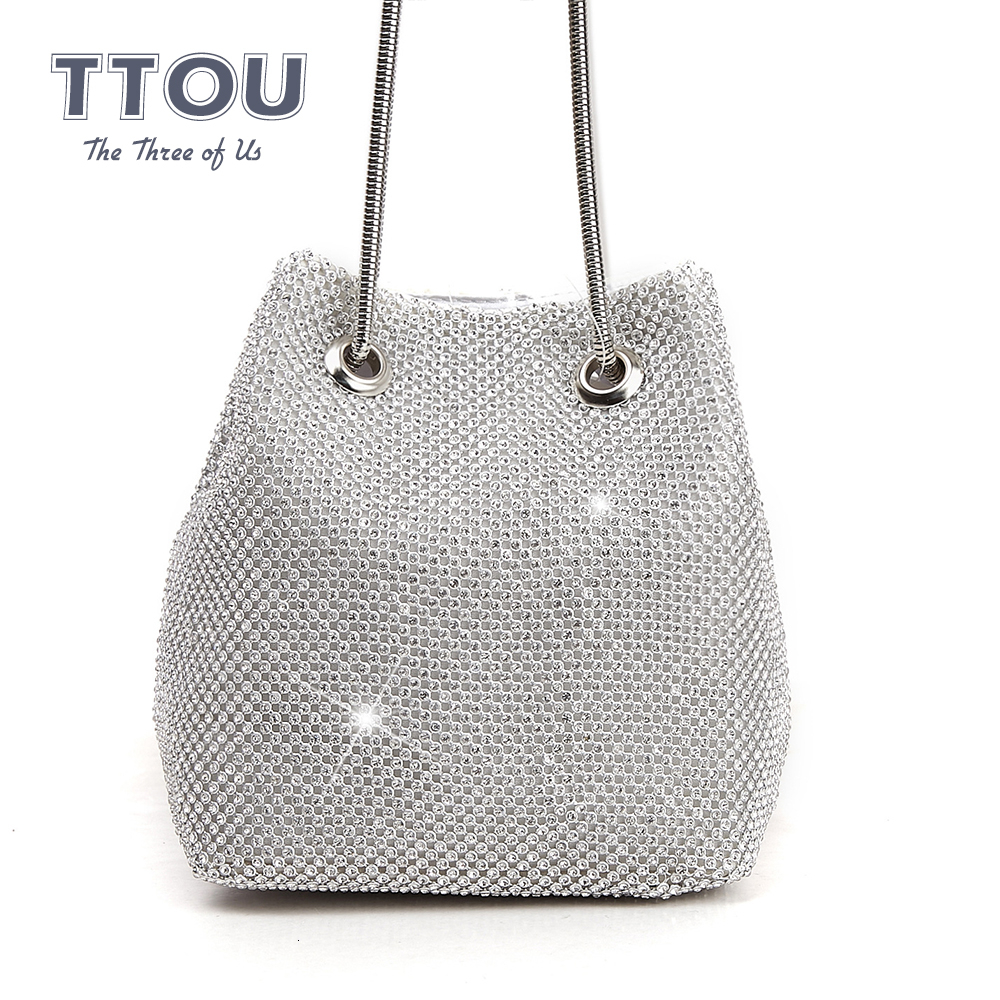 Diamond Decoration Women Bucket Bag Lady Evening  Party Club Top-hangbag Women Designer Crystal High Quality Shoulder Bag