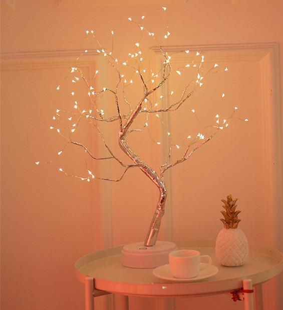 MeterMall LED Copper Wire Tree Shape Night with Touch Sensor Switch Decoration Battery USB Led Table Lamp Table Light
