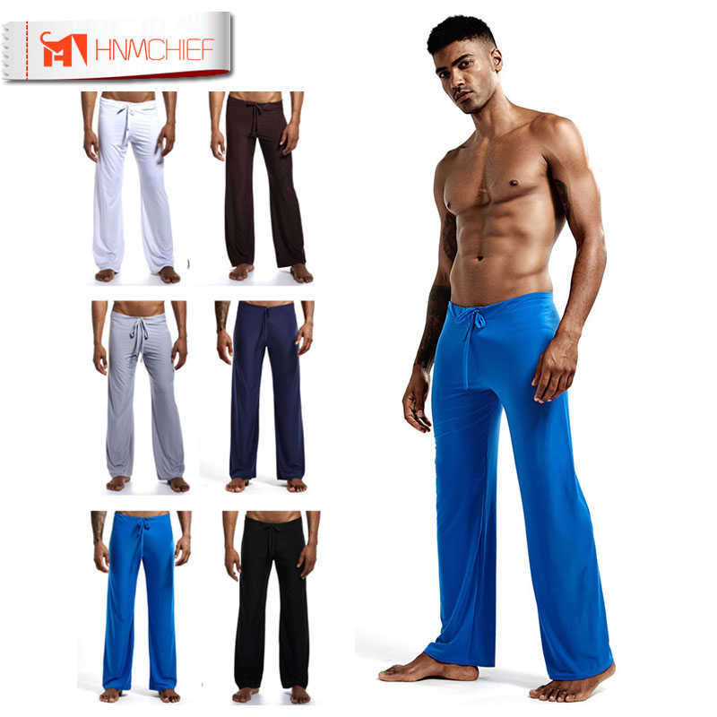 HNMCHIEF Mens Silk Satin Pajamas Pyjamas Pants Men's Lounge Pant Low-waist Fashion Sexy Loose Slippery Lounge Sleep Bottoms Free