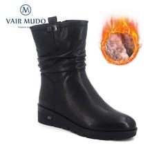 купить VAIR MUDO 2019 New Women Winter Platform Boots With Real Wool Warm Women Shoes Sheepskin Fur Winter Snow Boots DX23 дешево