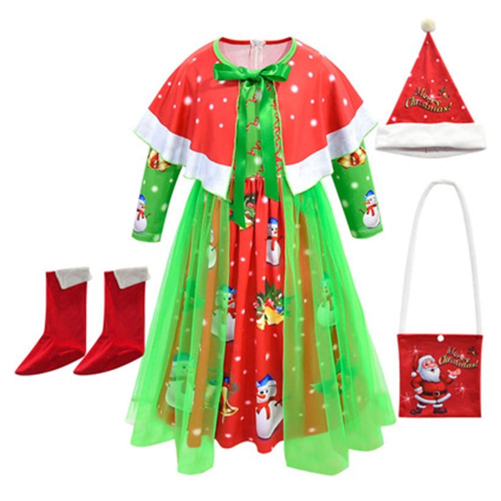 2021 Children Girl Dress Christmas Costume Festival Santa Claus cosplay Clothing Fancy Dress Xmas Party Dress Shoes Hat Bag Set