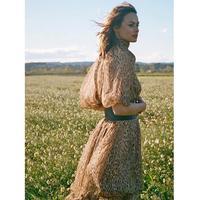 Leopard print puff sleeve silk long dress 2019 autumn quality women's Espionagwe neck tie dress Distribution scarf