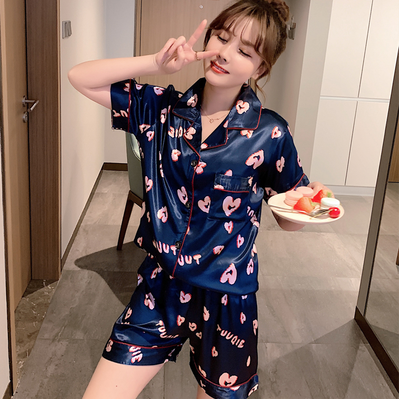 New Lazy Style 2020 WAVMIT Short Sleeve Pajamas Silk Set 2Pcs Set Women Sleepwear Sexy Homewear For Women Pyjamas Set Short Pant