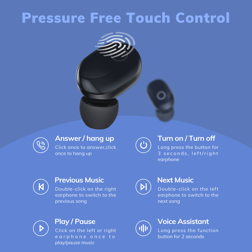 cheapest TOPK T12 Wireless Bluetooth Headphones V5 0 Touch Control Earphones Earbuds 3D Stereo Gaming Sport Headset with 350mAh battery