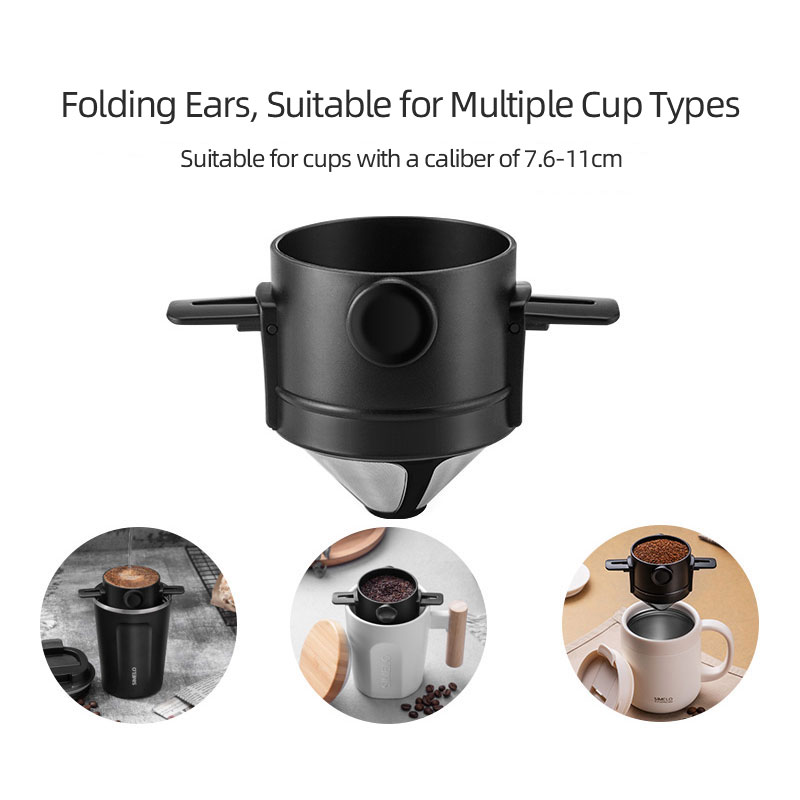 Coffee Filter Portable 304 Stainless Steel Drip Coffee Tea Holder Funnel  Baskets Reusable Tea Infuser and Stand Coffee Dripper – THOKO