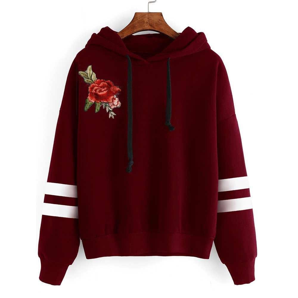Flower Embroidery 2020 New Design Hot Sale Hoodies Sweatshirts Women Casual Kawaii Harajuku Sweat Girls European Tops Korean