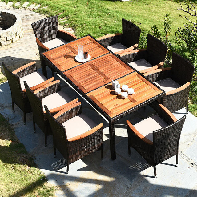 9 Pcs Patio Dining Table Set 3