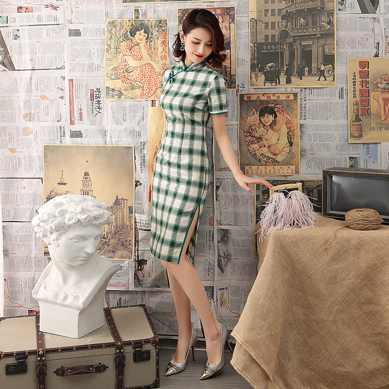 Spring Plaid Cheongsams Dress Women Sexy Slim Cotton Qipao Vestidos Art Student Girl Traditional Chinese Clothing