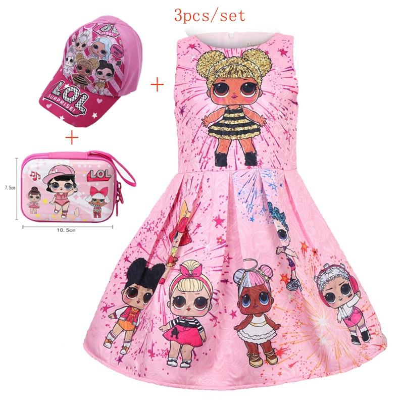 Kids Girls Lol Princess Dress Cute Elegant Children Clothes Summer Sleeveless Dolls Print Pleated Girls Dress Vestidos Costume