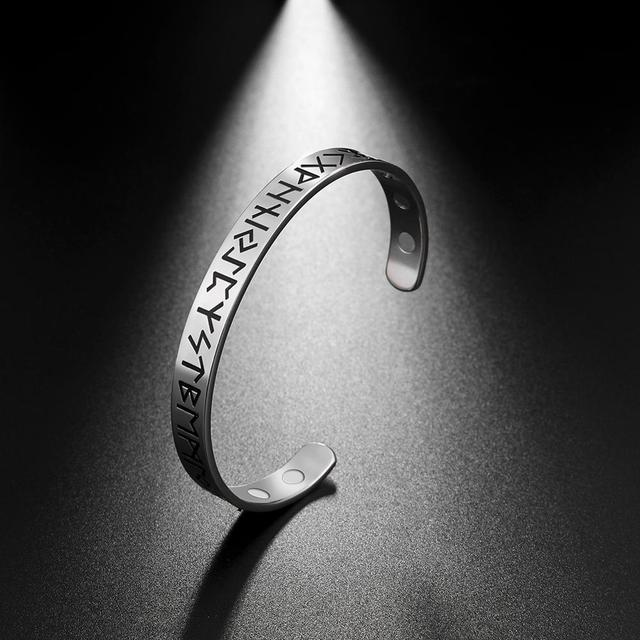 Bracelet nordique Viking Rune acier inoxydable magnétique 4