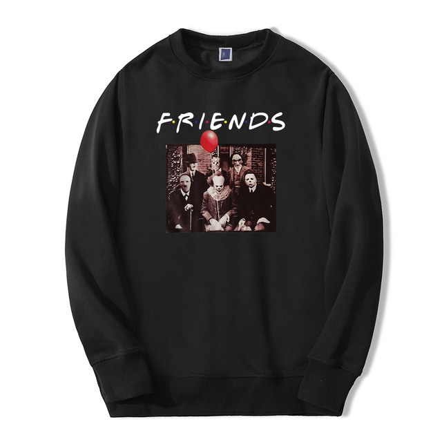 New Autumn Winter Hoodie Men Horrorr Movie Friends Funny Print Tracksuit Men Fleece Casual Fashion Fitness Sweatshirts