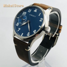 Corgeut 44mm mens top watch silver case leather strap 17 Jewels mechanical 6497 hand winding  movement luminous sport watches