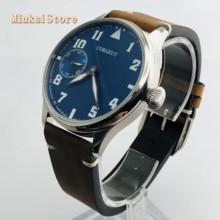 Corgeut Reloj de 44mm para hombre correa de cuero con carcasa plateada, 17 joyas, cuerda mecánica 6497, movimiento manual, reloj deportivo luminoso