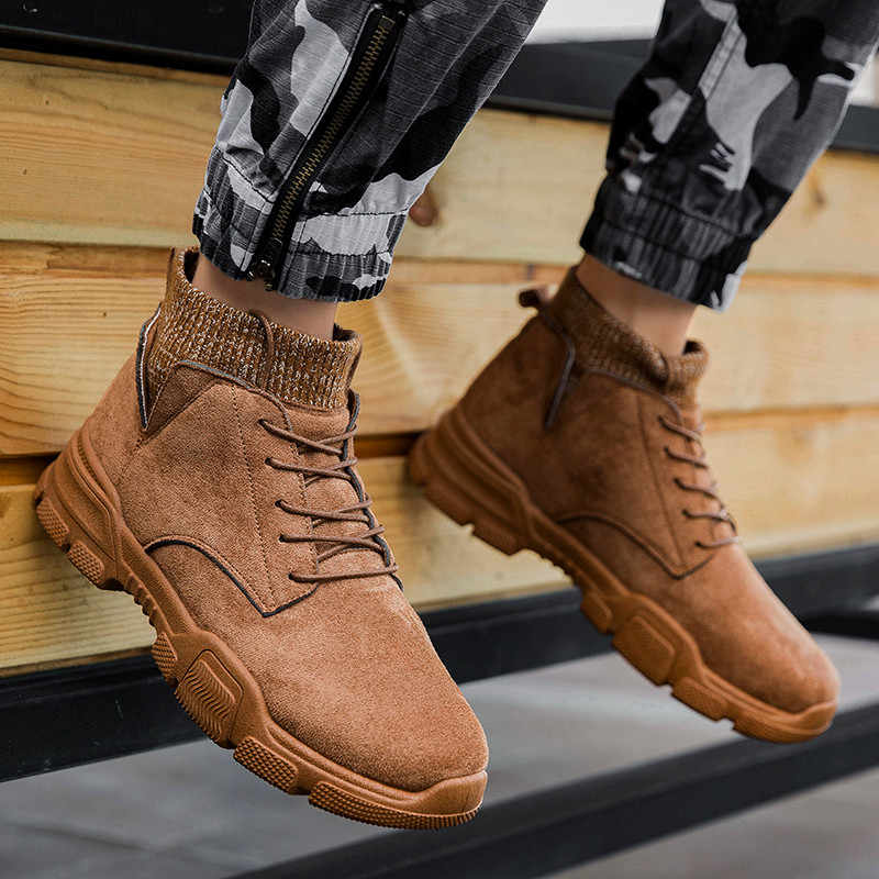 Men's high-top ถุงเท้า Martin boots breathable non-slip รองเท้าผ้าใบ Krasovki Mocassin ชายรองเท้า chaussures Pour Hommes