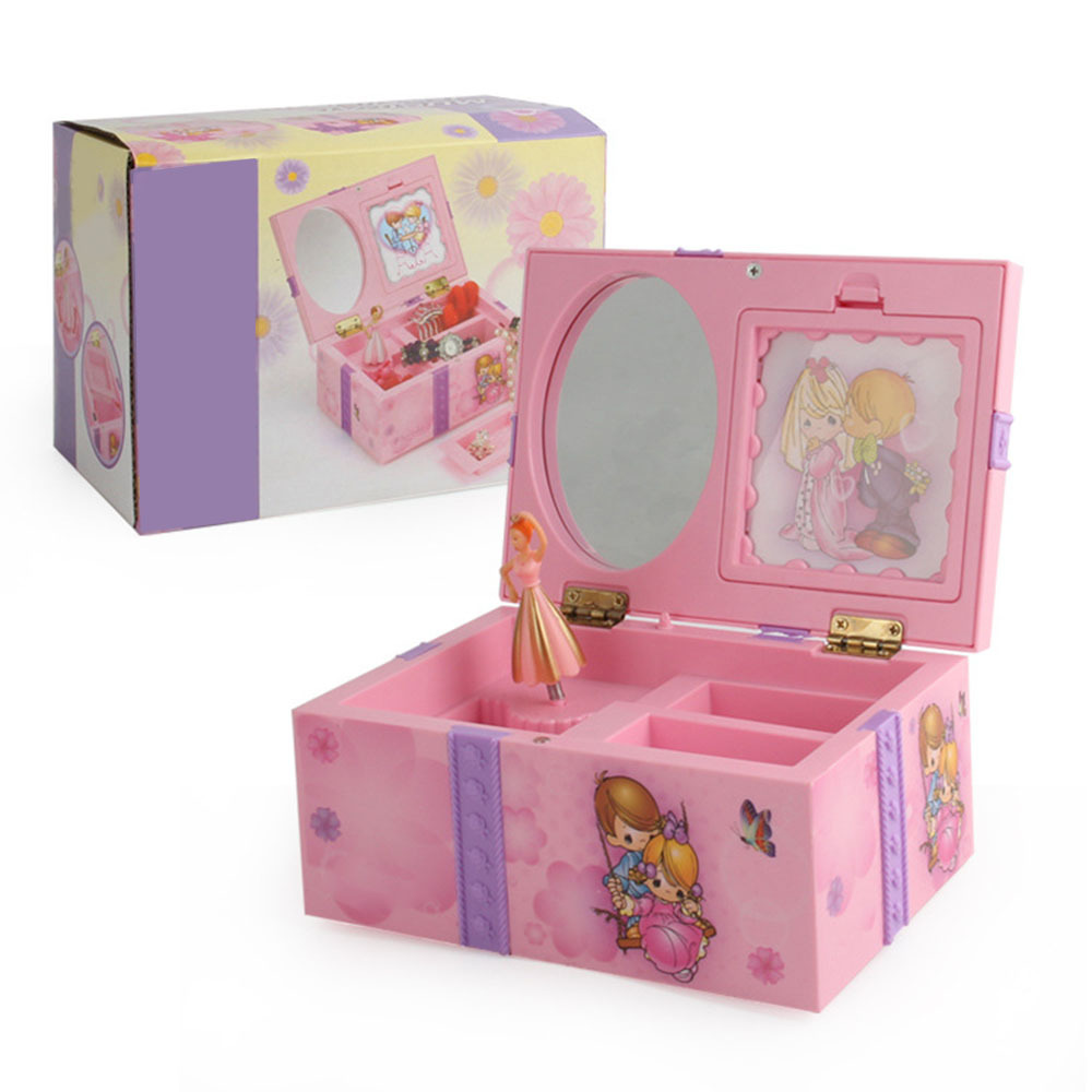 Pink Music Box Creative Gifts For Kids Clockwork Toy Musical Jewel Case Storage Organizer Creative Gift For Girls