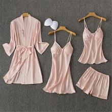 FZSLCYIYI Women Pajamas Sets Satin Sleepwear Silk 4 Pieces Nightwear Pyjama Spaghetti Strap