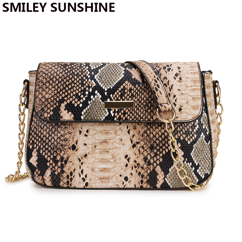 SMILEY SUNSHINE Small Crossbody Bag For Women Snake Print PU Leather Shoulder Bag Female Chain Messenger Bag Ladies Hand Bags