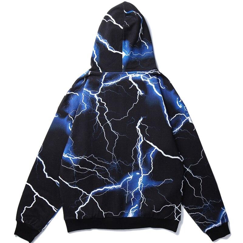 Harajuku Blue Lightning Print Hoodie Sweatshirt Mens Hip Hop Pullover Loose Hoodies Streetwear Casual Fashion Clothes Hipster