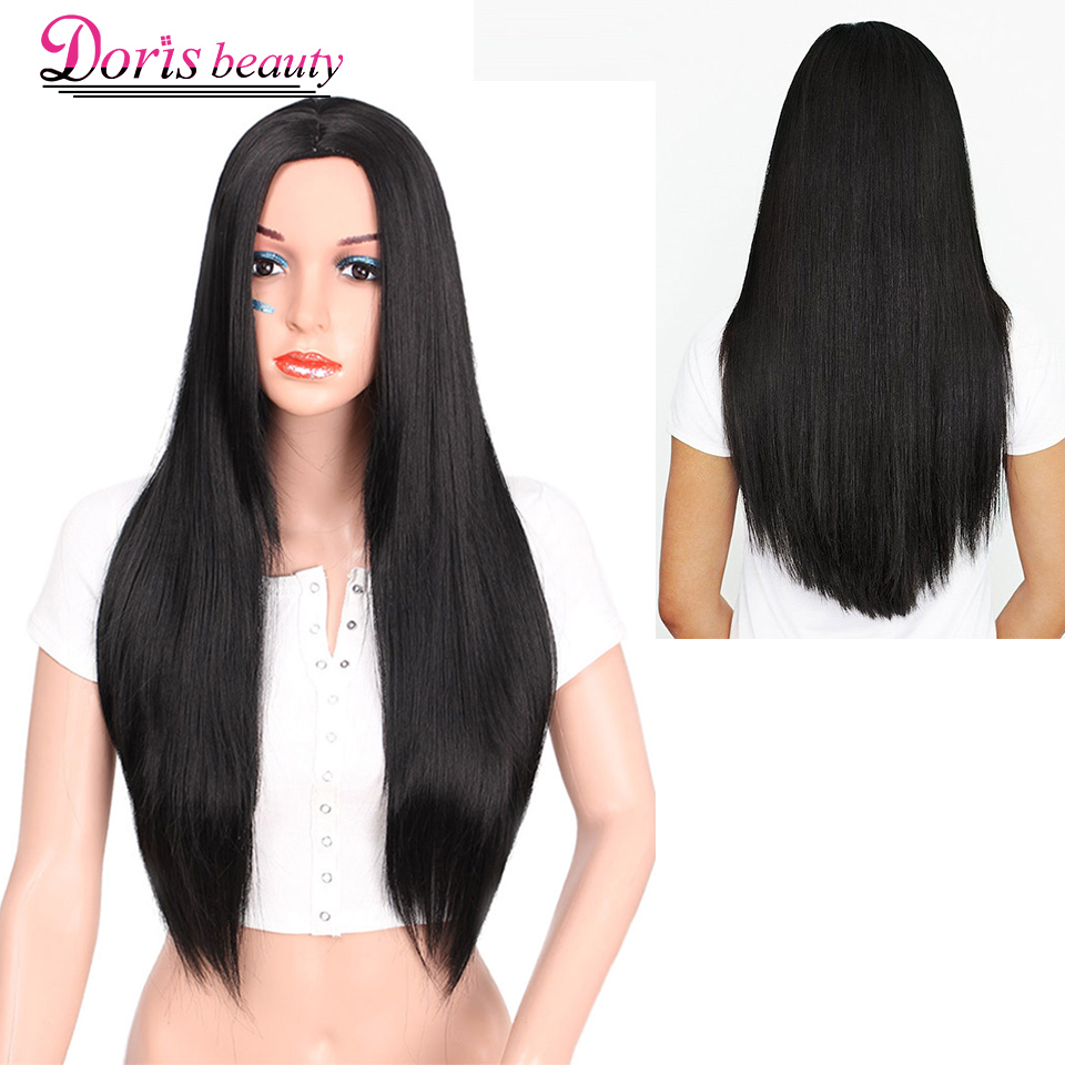 Doris Beauty Long Black Wig Synthetic Straight Ombre Wig Red Pink Green Blonde Hair For Women Cosplay Heat Resistant Fiber