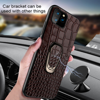 case iphone 5 Magnetic ring holder case for iphone 11 pro max Genuine leather shockproof protection cover for iphone 7 8 Plus X XS XR 6 S 5 SE (2)