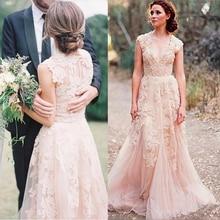 Lace Applique High Quality  V Neck Illusion Custom Made plus size vestidos noiva Wedding Dress plus two tone lace applique dress