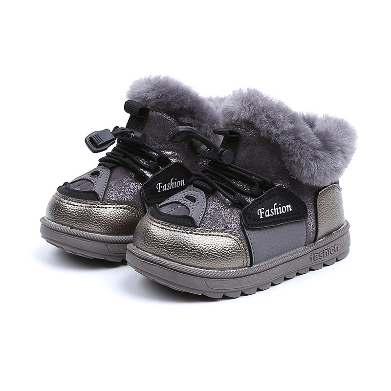 Girls&Boys Winter Shoes Children Boots Warm Rabbit Rubber Boots Kids Leather Flat With Ankle Boots EU 21-30 Kids Snow Outer Shoe